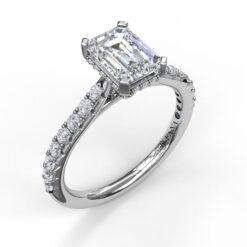 fana hidden halo emerald solitaire engagement mounting