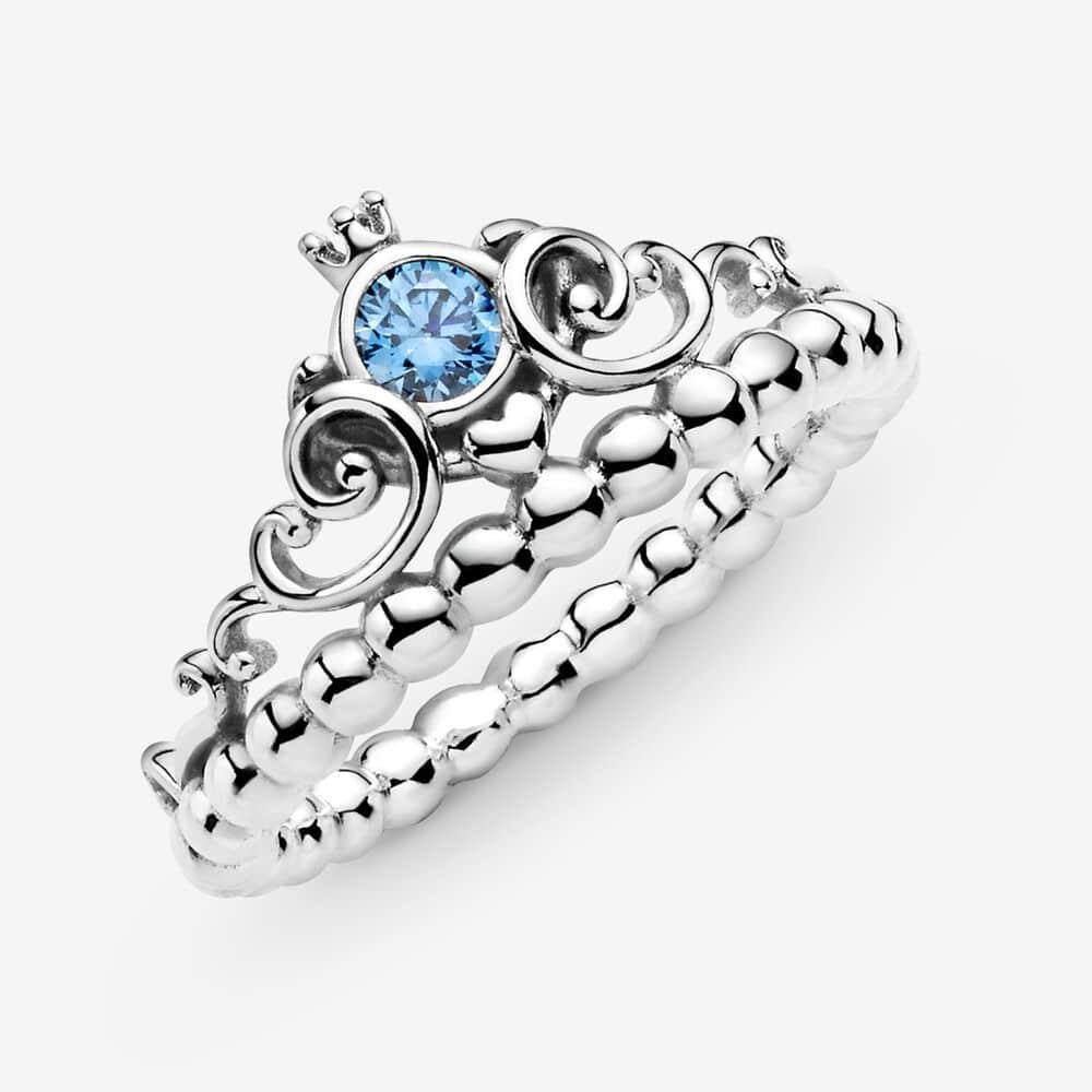 Pandora Cinderella Blue Tiara Disney Ring