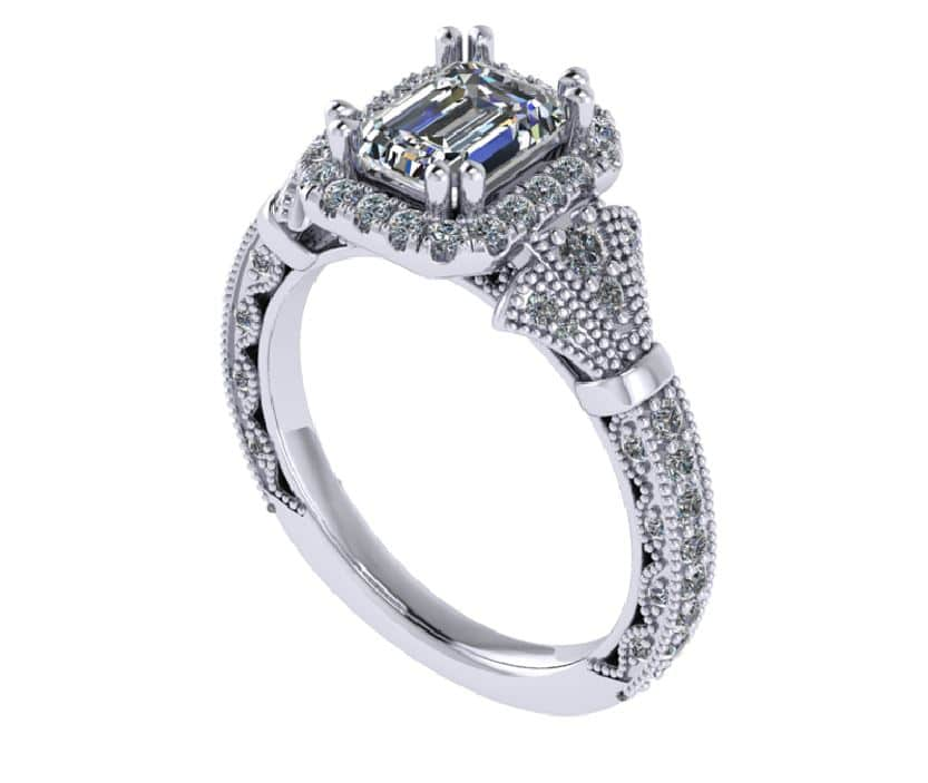 custom engagement ring side view